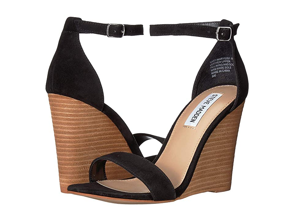 Steve Madden Mary Wedge Sandal (Black Suede) Women's Sandals