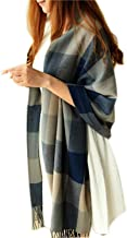 Winter Long Soft Warm Tartan Check Scarves Wraps for women Wool Spinning Tassel Shawl Long Stole