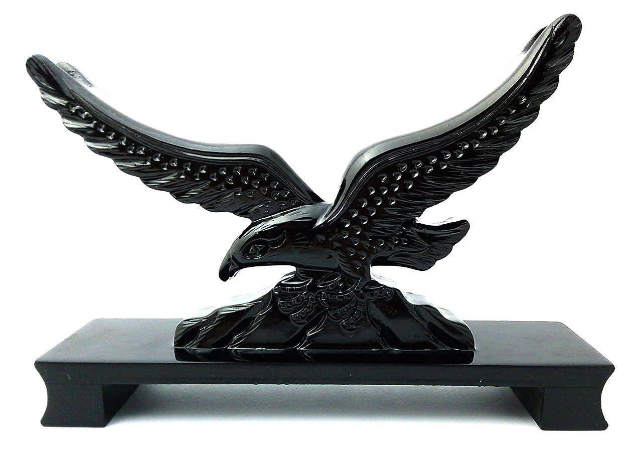 すりグラフィック大量akindou 鷹 が翼を広げた 木彫り風 刀掛け インテリア に最適 24cm 大