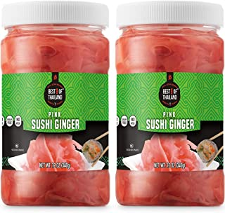 Best of Thailand Japanese Pink Pickled Sushi Ginger | Fresh Sliced Young Gari Ginger in All Natural, Sweet Pickling Brine ...