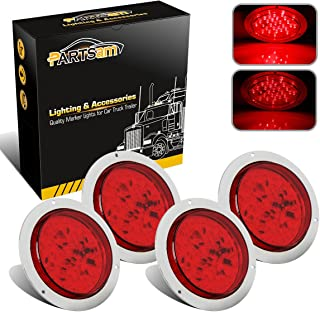 Partsam 4 Inch Round Red Led Trailer Tail Lights 40 Diodes Flange Mount Waterproof 12V Rear Stop Turn Tail Brake Running Marker Lights 3 Wires Sealed for Boat RV Trailer Truck (Pack of 4)