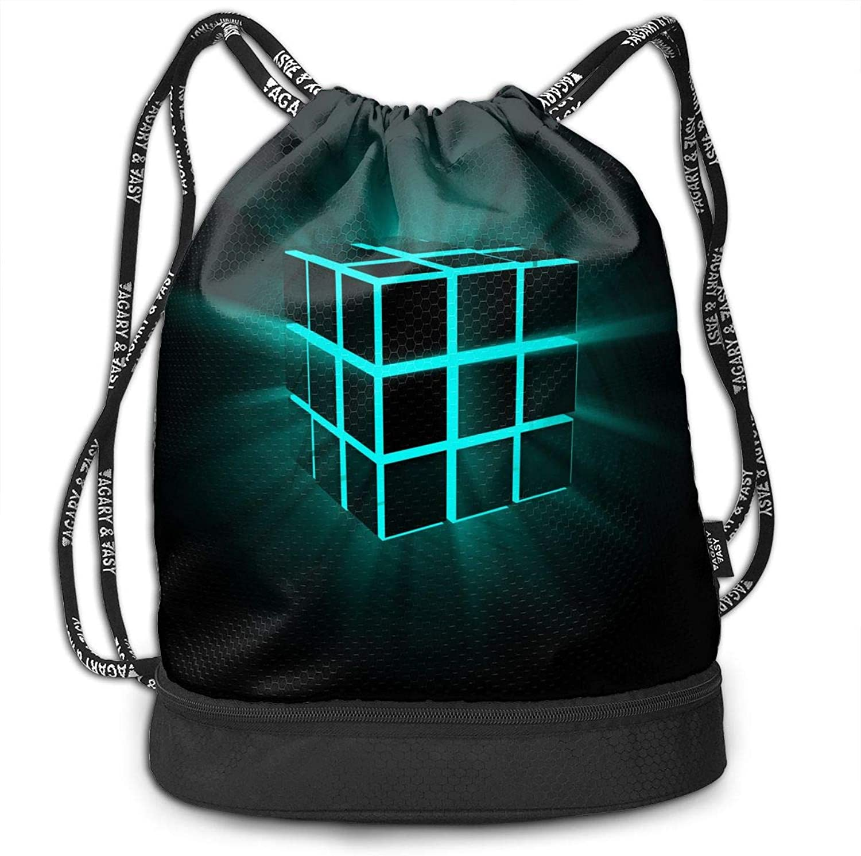 a84cfe1e2eef 3D Drawstring Backpack Rubik's Cube Portable Shoulder Bags Travel ...