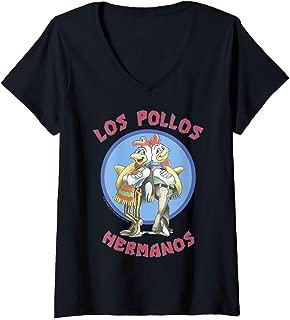 Womens Breaking Bad Los Pollos Hermanos Back To Back Portrait Logo V-Neck T-Shirt