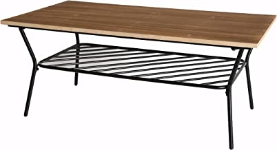 Uniquewise QI003336 Wood and Metal Storage Shelf, Coffee Table for Living Room
