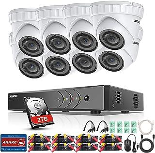ANNKE 8CH 3MP DVR Kit videovigilancia Sistema de 8 Cámaras de Seguridad 1920*1536P Metal con 2TB Disco Duro Acceso Remoto Visión Nocturna 24 IR Leds IP66 Exterior/Interior