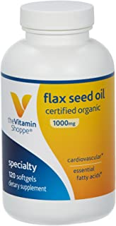 The Vitamin Shoppe Certified Organic Flax Seed Oil 1,000MG, Essential Fatty Acid That Supports Cardiovascular Health, Unre...