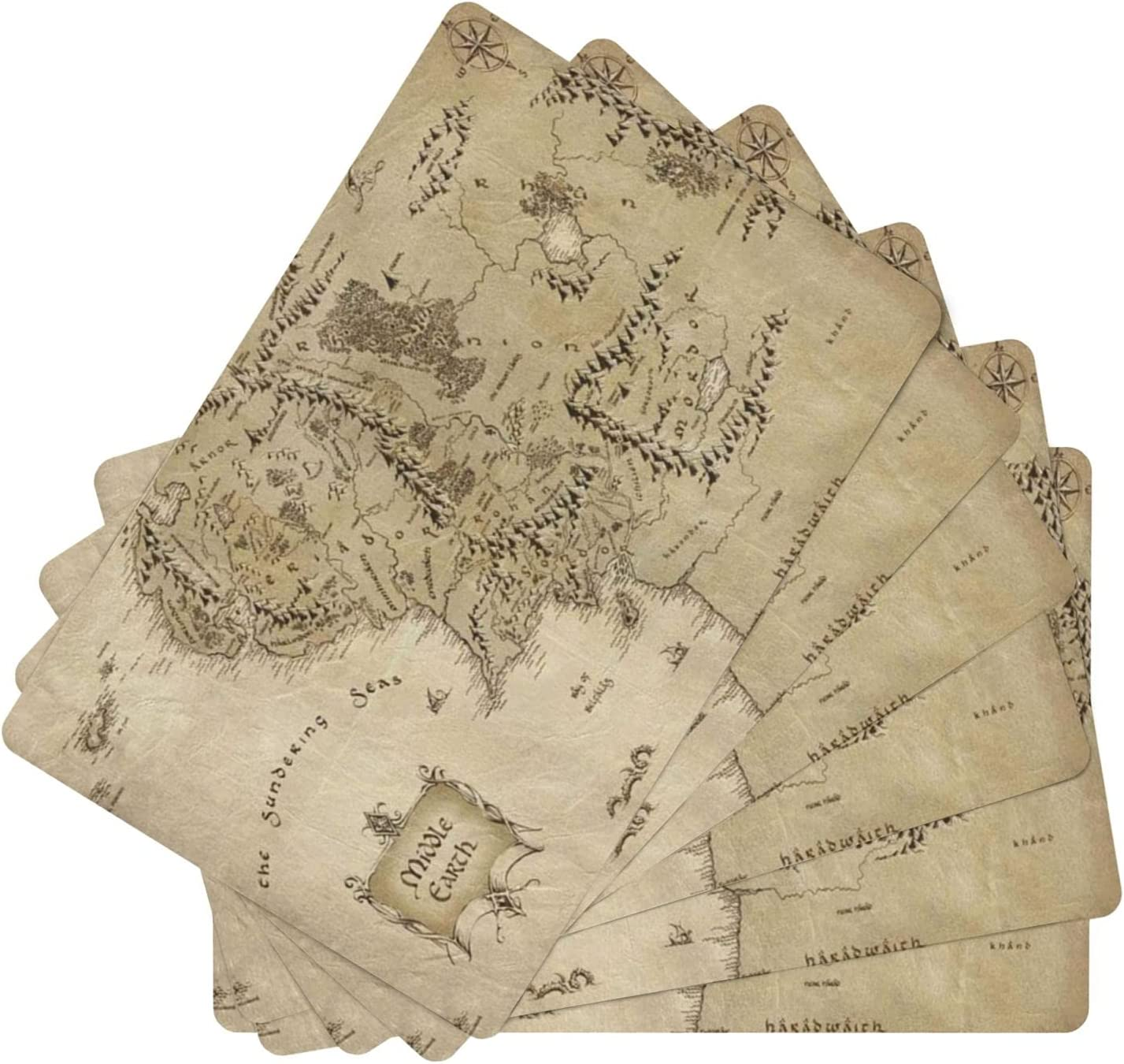 Map of Middle Earth Leather Place for Set Table 6 Dining Max 49% OFF Mats Year-end annual account