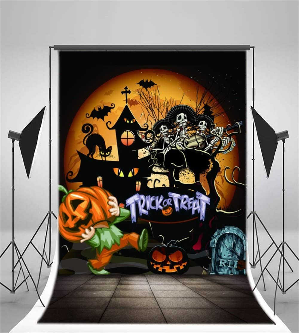 GoEoo 5x7ft Horrible Halloween Backdrop Grimace Pumpkin Scary Haunted House Photography Background Gloomy Tree Photo Studio Props Festival Kid Adult Party Decoration Vinyl Banner