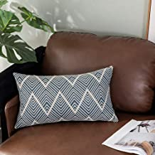 OJIA Lumbar Throw Pillow Cover Tribal Neutral Collection Woven Cotton Cushion Case for Farmhouse,Bedroom, Livingroom, Party, Office(12 x 20 Inch, Navy Blue)