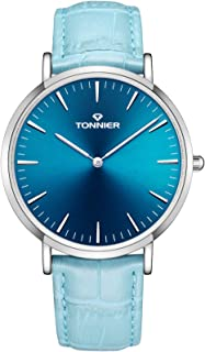 Tonnier Analog Quartz Genuine Leather Women Diamond-Encrusted Women Watch (Light Blue)