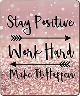 Amcove Gaming Mouse Pad Custom, Stay Positive Work Hard and Make It Happen Inspirational Quotes Mouse pad Art Rose Gold an...