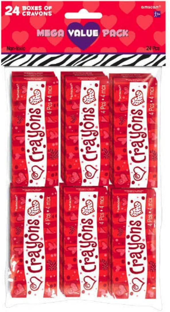 Max 68% OFF amscan Valentine's Be super welcome Day Crayons Mega Value 24 Boxes Pack