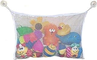 NUOLUX Toy Organizer Bathtub Mesh Net Baby Toy Storage Bin Bath Suction Cups Bag 45x35cm