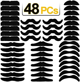 48 PCS Novelty Fake Mustaches, Mustache Party Supplies, Self Adhesive Mustaches for Masquerade Party & Performance Black