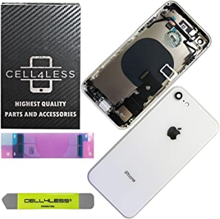 CELL4LESS Back Housing Complete Assembly Metal MidFrame w/Back Glass - Wireless Charging pad - Sim Card Tray and Camera Frame and Lens for iPhone 8 (White)