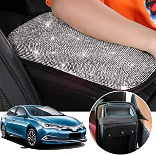 OMNFAS Bling Car Armrest Cover Cute Charming Auto Center Console Protective Cover Luster Crystal Rhinestone Car Arm Rest Cushion Pad Bling Car Interior Accessory for Women Girl (Silver)