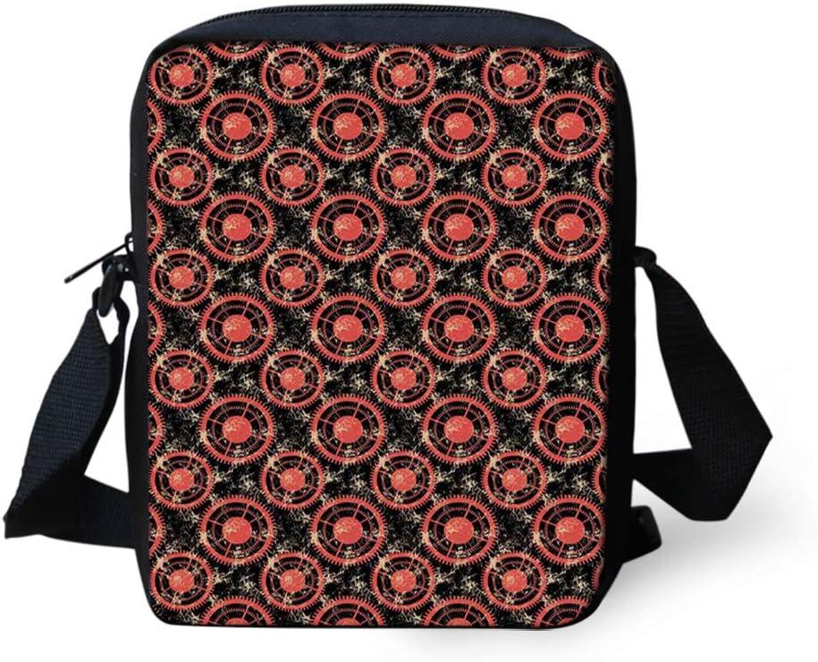 Kids Crossbody Messenger Shoulder Bag,Ornamental Triangles with Colorful Polka Dots X-mas Pattern