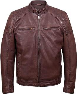 HIDEPARK Budd: Men's Burgundy Leather Jacket