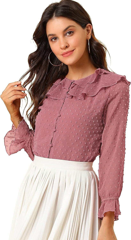 Allegra K Women's Swiss Dots Chiffon Blouse Summer Ruffled Neck Elegant Poms Shirts Tops
