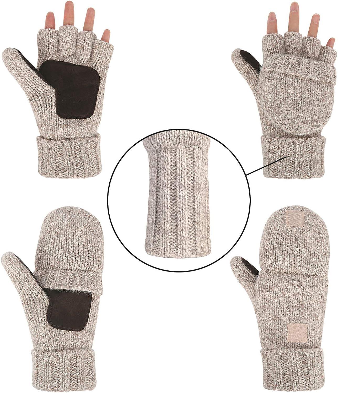 Winter Gloves for Men and Women Wool Fingerless Mittens Convertible Knitted Glove