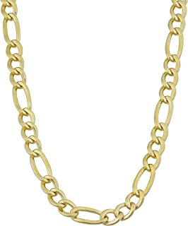 Solid 14k Yellow Gold Filled 5.2 mm Figaro Chain Necklace (18, 20, 22, 24 or 30 inch)