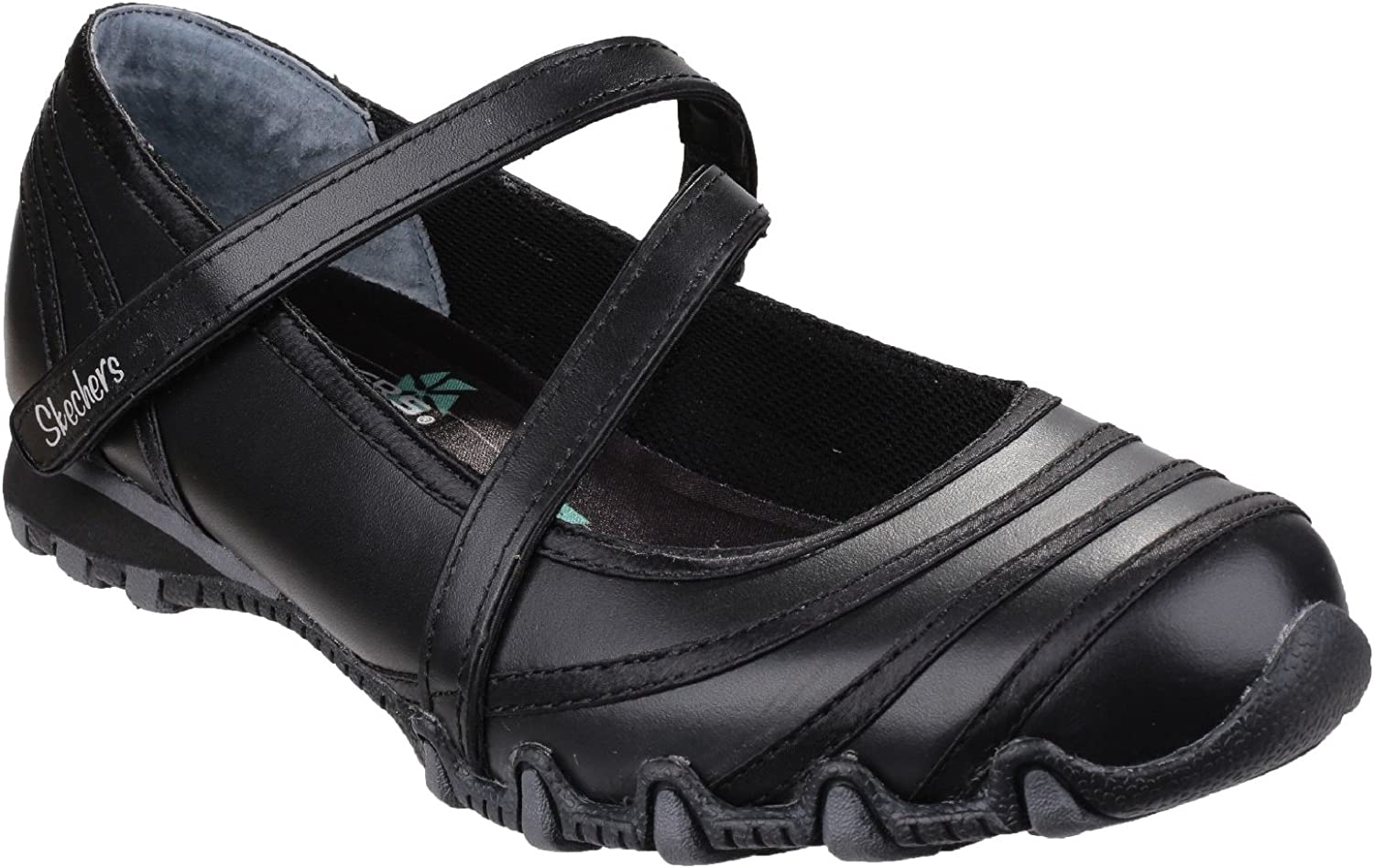 Skechers Womens Ladies Bikers 99999849 Satin Shine Casual shoes