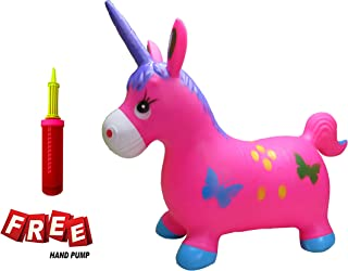 Welliboom Unicorn Hopper Kit, Pump Included, Inflatable Jumping Unicorn, Space Hopper, Ride-on Bouncy Unicorn Horse Hopper, Sit and Bounce, 3-Colors Available