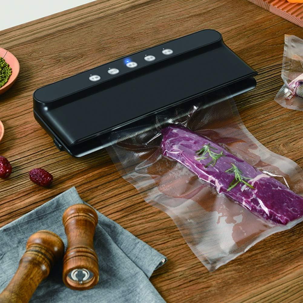 EDANQ Machine sous Vide, Machine De Scellage Vacuum avec 10 Sachets sans BPA pour Aliments Secs Ou Humides Restent Frais Jusqu'à 8 Fois Plus,Blanc Black