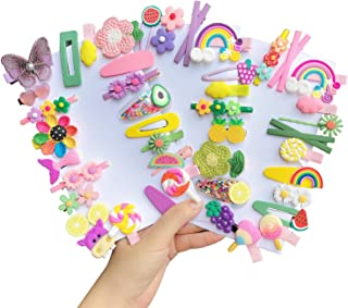 EleMirsa 50pcs Baby Girl's Hair Clips Adorable Barrettes Rainbow Flower Colorful Little Girl Hair Accessories for Baby Gir...
