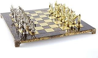 Manopoulos Greek Mythology Chess Set - Brass&Nickel - Brown Chess Board