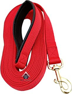 """MS PET HOUSE Padded Dog Training Lead Dog Leash Long Leash 15 Ft Long Leash for Dogs (1"""" Wide by 15 Ft Long Red Colour)"""