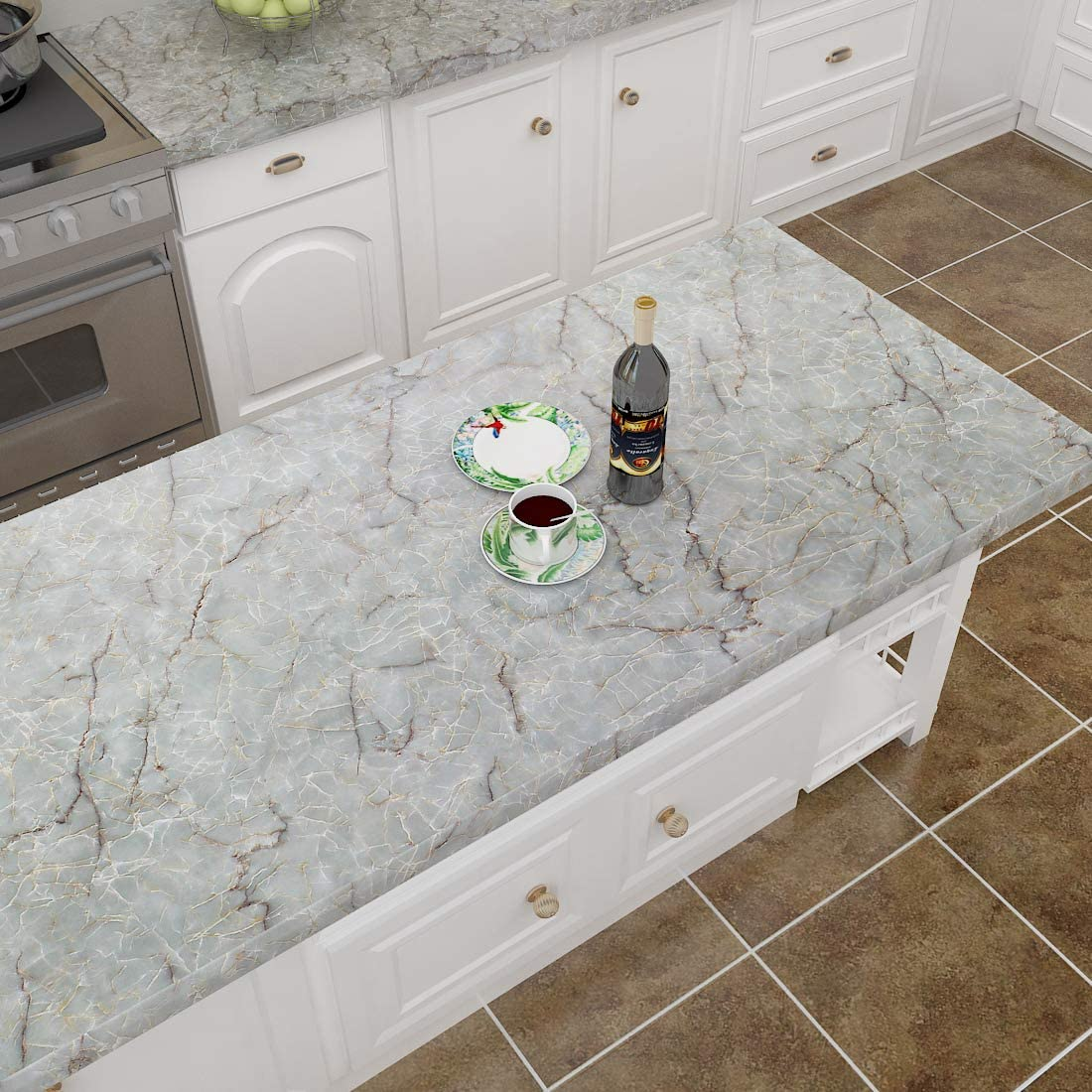 Buy Lacheery 160 X 24 Inch Marble Cyan Blue Contact Paper Decorative Peel And Stick Wallpaper Roll Removable Wallpaper Waterproof Marble Countertop Contact Paper For Kitchen Island Cabinets Backslash Desk Online In