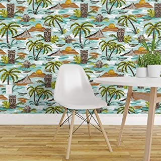 Spoonflower Peel and Stick Removable Wallpaper, Tiki Ocean Tropical Pattern Large Scale Hawaiian Retro Vintage Summer Palm Trees Print, Self-Adhesive Wallpaper 24in x 108in Roll