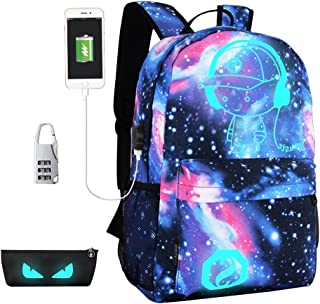 Luminous Backpack for School Anti-Theft Waterproof, Laptop Bag with USB Charger Port & Lock & Pencil Case, Unisex Travel College Bookbag Fits 15.6 inch-Galaxy Star Sky