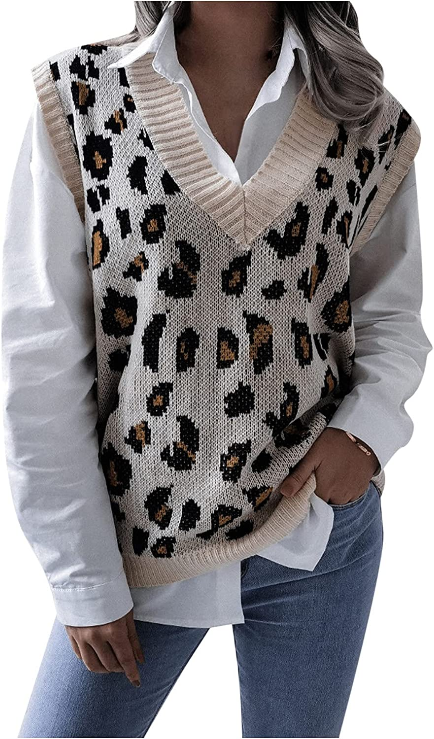 RUIY Fall Sweater Vest Women, Women Knitted V Neck Sleeveless Sweaters Knitwear Tank Tops,Loose Chunky Knitted Pullover Sweater Jumper