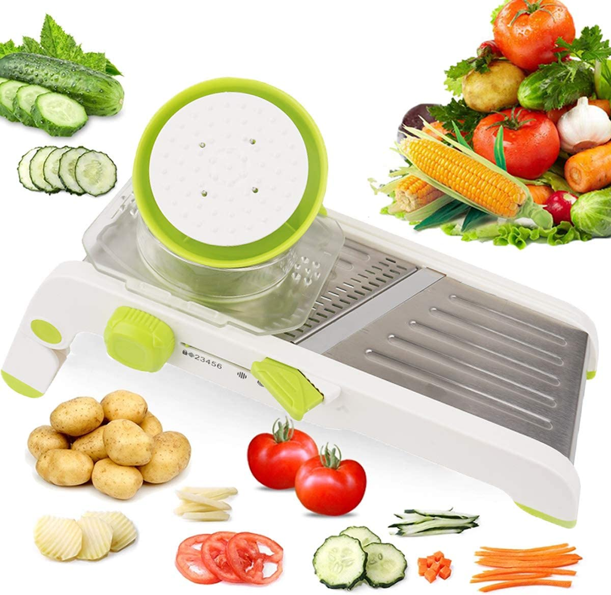 Mandoline Slicer Adjustable Thickness Vegetable Slicer, Fruit Slicer, French Fry Cutter, Food Waffle Sharp Stainless Steel Blades (Green)