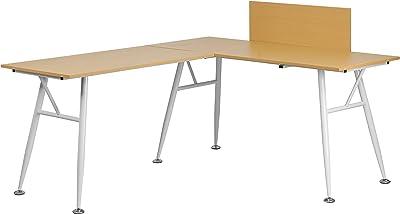 Flash Furniture Beech Laminate L-Shape Computer Desk with White Metal Frame