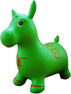 Kids Ride on Jumping Horse Hopper Inflatable Toy - Green