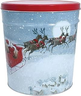 C.R. Frank Popcorn - Gourmet Popcorn Tin, 6.5 Gallon, Santa's Sleigh (3 Way Butter, Cheese, and Caramel)