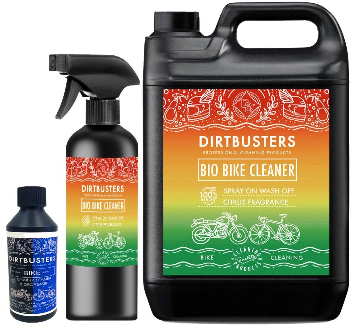 Dirtbusters Bio Bike Cleaner Set de limpiador ecológico para motos y bicicletas, incluye limpiador en spray de 1 litro, bidón de 5 litros de limpiador para rellenar y desengrasante para cadenas de