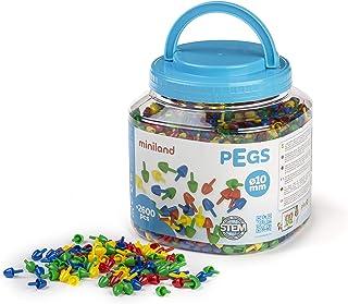 Miniland- Pegs 10 mm (2.600 Piezas) -Primary Colors Divertido Juego de mosaicos. (31810)