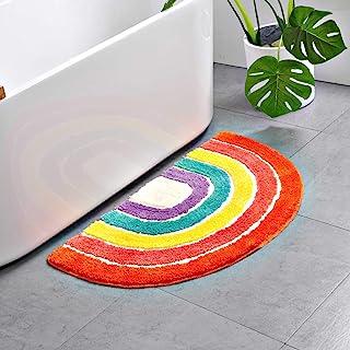 Best Cute Doormat for Kids - Microfiber Absorbent Bathroom Mats - Front Door Mat Carpet Floor Rug, Rainbow Shape Review