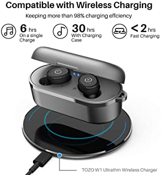 TOZO T10 Bluetooth 5.0 Wireless Earbuds with Wireless Charging Case IPX8 Waterproof TWS Stereo Headphones in Ear Buil...