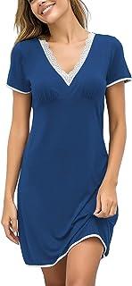 Ekouaer Women's Soft Sleepwear Sleep Shirt V Neck Short Sleeve Lace-Trim Nightgown S-XXL