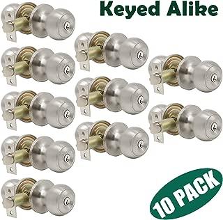 Probrico 10 Pack Keyed Alike Entry with Key Round Door Knob Handles Entrance Door Lockset Brushed Nickel Finished