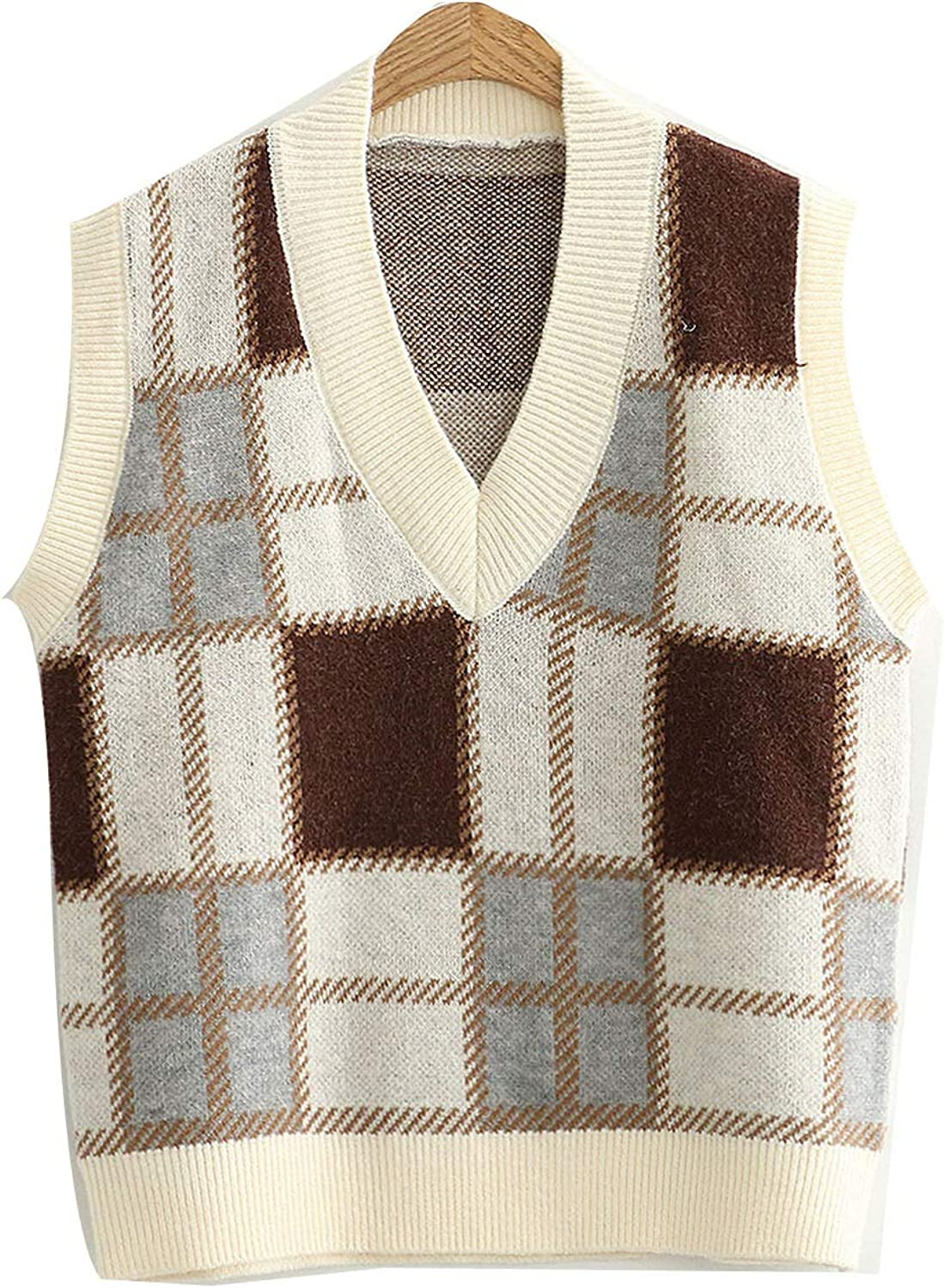 Women Plaid Sleeveless Sweater Vest Casual Loose V-Neck Student Knitwear Pullover
