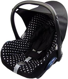 BAMBINIWELT Ersatzbezug für Maxi Cosi CabrioFix 6 tlg, Bezug für Babyschale, Komplett Set SCHWARZ WEISSE PUNKTE