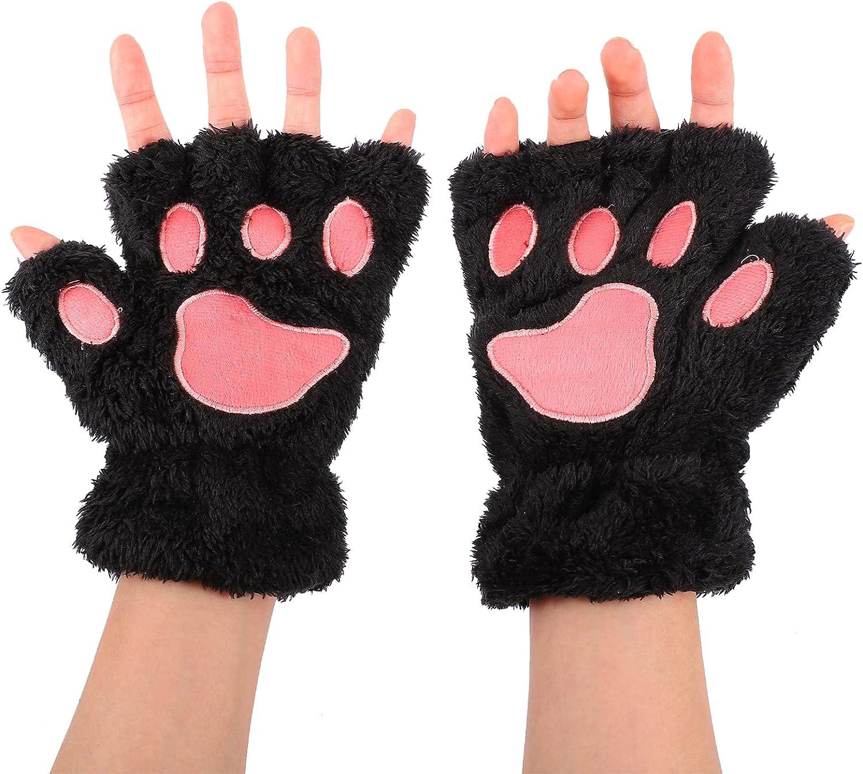 Lurrose Cat Paw Gloves Winter Fingerless Gloves with Rope Bear Plush Claw Mittens Cute Kitten Fingerless Mittens for Women Girls Black