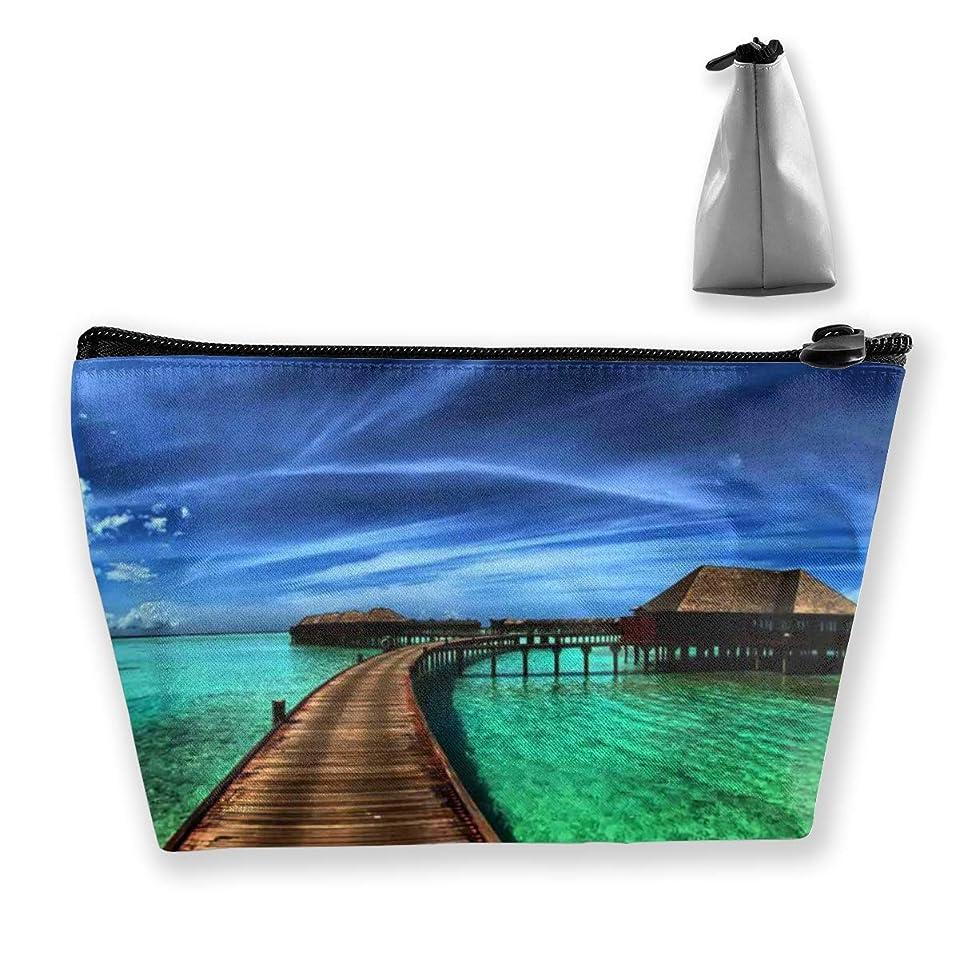 サンダルキャップ結婚したSzsgqkj 青い海の水 化粧品袋の携帯用旅行構造の袋の洗面用品の主催者