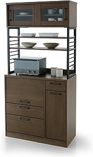LOWYA ロウヤ 食器棚 キッチン レンジ台 カウンター スライドレール 収納 幅90cm ウォルナット
